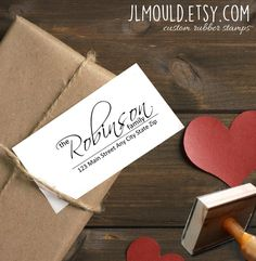 0500 JLMould Calligraphy Handwriting Script Personalized Rubber Stamp for Return Address Wedding SavetheDates Stationery Family