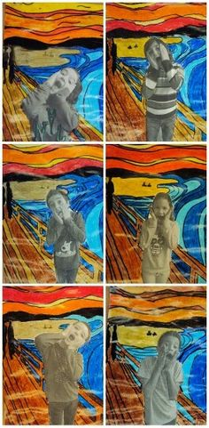 "Plastiquem: grade art – spanish website gives explanation of original ""Screa… - Kunstunterricht Middle School Art, Art School, Club D'art, Arte Elemental, Classe D'art, Edvard Munch, 5th Grade Art, Grade 3, Ecole Art"