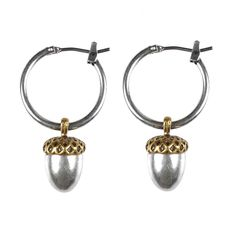 This pair of Hultquist Jewellery Acorn Silver and Gold Hoop Earrings are perfect for every day wear and at a fantastic price make the perfect gift for loved ones.