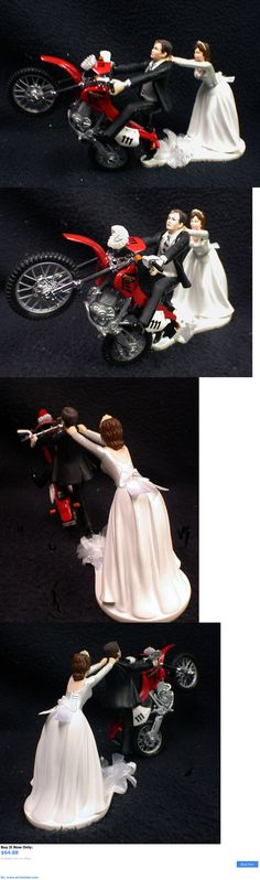 Wedding Cakes Toppers: Off Road Dirt Bike Motorcycle Wedding Cake Topper Red Honda Racing Track Funny 2 BUY IT NOW ONLY: $64.88 #priceabateWeddingCakesToppers OR #priceabate