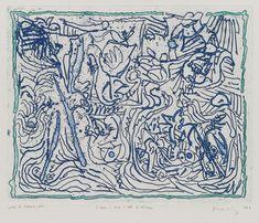 Bird's Eye View of the Sea (L'eau à vue d'oeil d'oiseau)  Pierre Alechinsky (Belgian, born 1927)