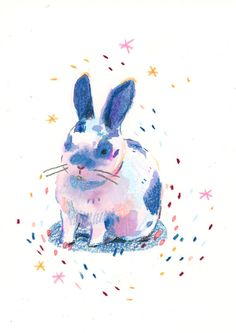 Charming bunny illustration by Leigh Ellexson Small Drawings, Colorful Drawings, Animal Drawings, Art Drawings, Rabbit Illustration, Pencil Illustration, Crayon Drawings, Crayon Art, Rabbit Drawing
