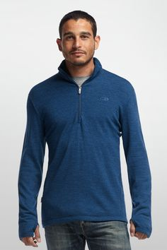 Icebreaker Original Long Sleeve Half Zip, a classic and iconic piece. weight Merino Wool for warm goodness. Mine is this blue one. Casual Shirts For Men, Men Casual, Lifestyle Clothing, Outdoor Outfit, Boutique, Timeless Classic, Men Sweater, Man Shop, Pure Products