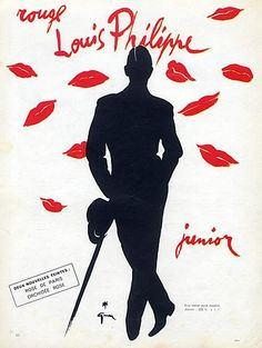 ad for Louis Philippe (Cosmetics) 1955 -- illus by René Gruau