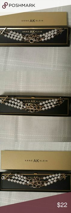 "Gorgeous New Anne Klein Bracelet Brand new in box. Adjustable up to 8.5"" Pearls, gold and rhinestones. Anne Klein Jewelry Bracelets"