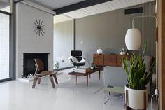 Eichler mid-century living room restoration by fogmodern