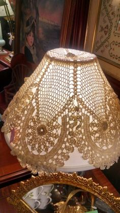 Antique store crochet lamp shade