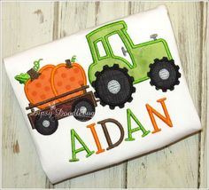 Fall Farm Tractor and Trailer with Load of Pumpkins Shirt or Bodysuit for Girls and Boys - Personalization Available by DipsyDoodlebug on Etsy https://www.etsy.com/listing/204213103/fall-farm-tractor-and-trailer-with-load