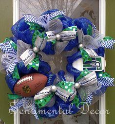 Seattle Seahawks Throwback Wreath, Go Hawks!, Superbowl Here We Come!, 12th Man Wreath,