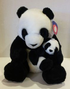 "13"" People Pals Plush Panda Bear With Baby Cub Black White Toy Stuffed Animal"
