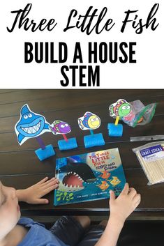 Books and Building Challenge- Three Little Fish and the Big Bad Shark Daycare Themes, Classroom Themes, Ocean Activities, Infant Activities, Three Little, Little Fish, Clark The Shark, Ocean Unit, Water Safety