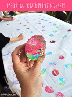 Set the Perfect Easter Table and have a Easter Egg Potato Printing Party! | Club Chica Circle - where crafty is contagious