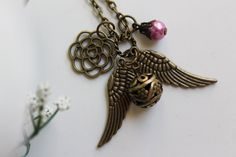 My Angel  Antique Golden Snitch Charm Necklace by emilymoon2003, $11.99
