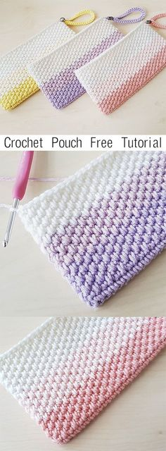 Crochet Simple Pouch Clutch - Knitting is as easy as 3 Knitting l . - Crochet Simple Pouch Clutch - Knitting is as easy as 3 Knitting l . - Wellecraft Crochet For Beginners crochetbeginners Crochet Blog Crochet, Crochet Simple, Learn To Crochet, Double Crochet, Crochet Clutch Bags, Crochet Pouch, Crochet Purses, Diy Crochet Purse, Crocheted Bags