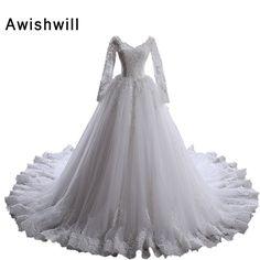 Vestido de Noiva Manga Longa Long Sleeve Lace Appliqued V Neck Tulle See Through Back Real Photo Wedding Dress Wedding Gowns