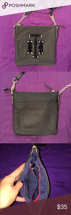 Tommy Hilfiger Cross-body Black Zip Purse Tommy Hilfiger, Medium Cross-body, Black, Leather, Blue Liner, Zipper & Loose Pocket Tommy Hilfiger Bags Crossbody Bags
