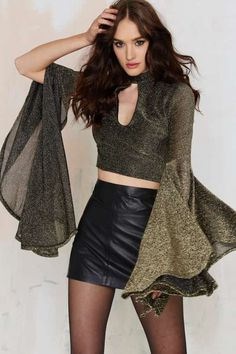 Nasty Gal Anita Bell Sleeve Crop Top - Gold
