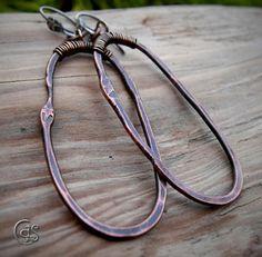 Star Hoop Earrings Rustic Copper Jewelry Handmade. $33.00, via Etsy.