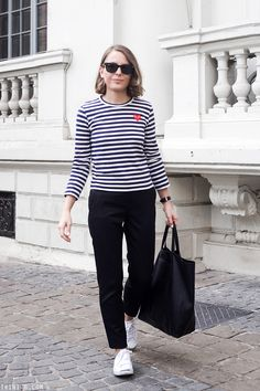 Trini | Comme de Garçons PLAY striped shirt The Kooples trousers