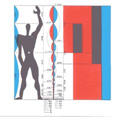 Le Corbusier, The Modulor. Formula for architectural proportion based on the Golden Ratio, the Fibonacci Series, and a slightly idealized male human body. Le Corbusier Architecture, Architecture Design, Architecture Drawings, Proportion Architecture, Chinese Architecture, Architecture Office, Futuristic Architecture, Classical Architecture, Alvar Aalto
