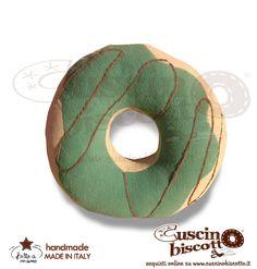 Cuscino Biscotto - Ciambella Glassata / Donuts Verde Scuro glassa marrone (Fatto a mano in Italia)