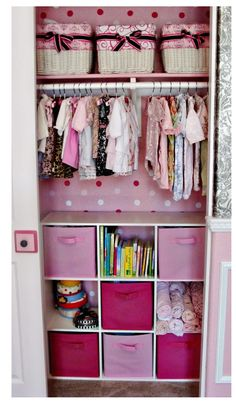 Little Girls closet.  OMG!  When we get into a house and Parkers toy box is out of his room, I am doing this for him.  One for socks, one for shoes, one for winter mittens and hats, one for PJ's!