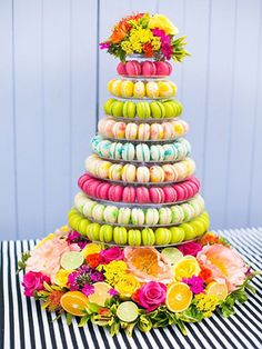 colorful macaron tower instead of a wedding cake