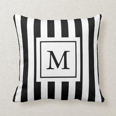 Striped Monogrammed Pillow Monogram Pillows, Custom Pillows, Artwork Design, Knitted Fabric, The Neighbourhood, Throw Pillows, Unisex, Color, Gender