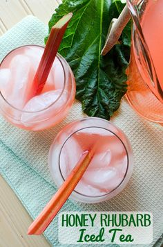 Recipe for a sweet honey rhubarb iced tea - can be sweetened with honey or sugar, but honey is a more natural sweetener that complements the tart rhubarb.
