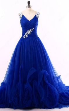 Princess V Neck Tulle Court Train Appliques Lace Royal Blue Long Prom Dress