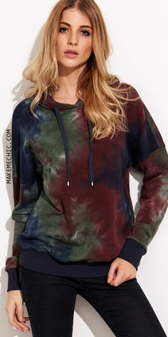 Multicolor Tie Dye Print Drop Shoulder Hoodie