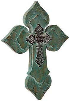 #Teal #Cross with Resin Center. #gifts #homedecor