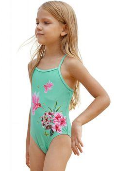 c054b55676bfc Mint Floral and Birds Little Girls One-piece Swimwear. US  4.03-Mint ...