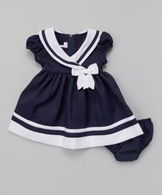 This Navy & White Nautical Cap-Sleeve Dress & Diaper Cover - Infant by Gerson & Gerson is perfect! #zulilyfinds