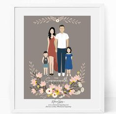Custom family portrait illustration DIGITAL  Drawing.