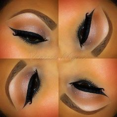 M.A.C's All that Glitters eyeshadow on the lid, with Saddle in the crease. Thick winged liner with M.A.C's Blacktrack ⚡