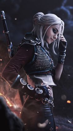 ciri witcher cosplay iPhone X Wallpapers Chica Fantasy, Fantasy Girl, Dark Fantasy, Ciri Witcher, Witcher Art, Fantasy Character Design, Character Inspiration, Character Art, Fantasy Characters
