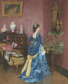 The Blue Dress by Auguste Toulmouche, 1872 France     Source Unknown
