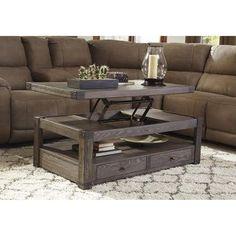 Burladen Lift Top Coffee Table in Grayish Brown | Nebraska Furniture Mart