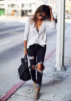 ripped jeans and blouse - casual look
