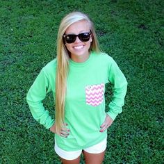 Neon green long sleeve tee with a pink chevron frocket