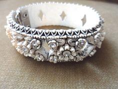 Vintage Edelweiss Rhinestone Clamp Bracelet by DustyPearls on Etsy, $12.00