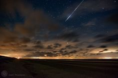 A Perseid meteor over Brancaster by Gary Pearson Perseid Meteor Shower, Clear Sky, Thing 1 Thing 2, Norfolk, Landscape Photography, Cool Pictures, Northern Lights, Scenery, Earth