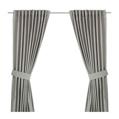 """IKEA - INGERT, Curtains with tie-backs, 1 pair, 57x98 """", , The curtains lower the general light level and provide privacy by preventing people outside from seeing directly into the room.The curtains can be used on a curtain rod or a curtain track.The heading tape makes it easy for you to create pleats using RIKTIG curtain hooks.You can hang the curtains on a curtain rod through the hidden tabs or with rings and hooks."""