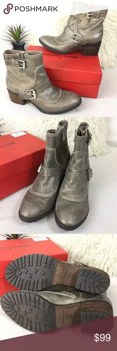 """Donald J Pliner leather Moto boots Donald J Pliner leather Moto boots   Worn once and look new !! Light color pink on back of boots and top trim as seen rubbed on another shoe but otherwise excellent condition.  Awesome silver/champagne gold crackle leather and brushed steel buckle detail. Stacked leather 2.5"""" heel and rubber traction soles. Side zipper for easy on/off measures 7 3/4"""" total height. Fits true size Donald J. Pliner Shoes Combat & Moto Boots"""