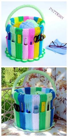 Handicraft Bucket Yarn Hook Organizer Crochet Pattern Crochet Gifts, Crochet Yarn, Crochet Hooks, Free Crochet, Tricot Simple, Crochet Organizer, Crochet Hook Case, Confection Au Crochet, Handicraft