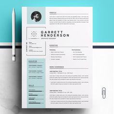 Resume Word Template by Resume-Inventor If you like this design. Check others on my CV template board :) Thanks for sharing! Cv Words, Resume Words, Resume Cv, Resume Layout, Modern Resume Template, Resume Template Free, Creative Resume Templates, Cv Design, Resume Design