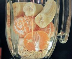 The Orange Jillius Ingredients: 2/3 cup rolled oats 4 clementine oranges peeled, seeded 2 medium banana 2 cups unsweetened nondairy milk 1 cup ice crushed Instructions: In a drink mixer, blend the rolled oats on high until they have the fine texture of flour. Add clementines, banana, and nondairy milk. Blend on high for 15 seconds until smooth. Add ice for quick chilling. Serve & slurp away.