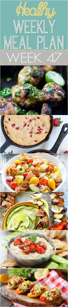 A delicious mix of healthy entrees, snacks and sides make up this Healthy Weekly Meal Plan #47 for an easy week of nutritious meals your family will love!