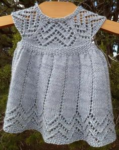 Muti baby dress by Taiga Hilliard knit knitted knitting handknitMuti Dress PDF pattern sock yarn newborn 3 6 9 by cashmerejunkieAs your baby grows, this will grow from a dress to a tunic. Top down design with a pretty lace pattern on the yoke and ski Baby Knitting Patterns, Knitting For Kids, Crochet For Kids, Baby Patterns, Crochet Baby, Knit Crochet, Crochet Woman, Pull Bebe, Knit Baby Dress